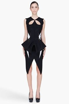 MUGLER Black wool Padded Cutout Dress - very cool sculptural dress although could do without the antenna coming out of the waist