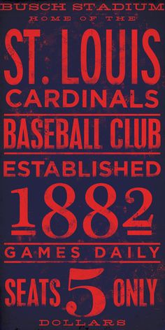 St Louis Cardinals  baseball typography graphic art giclee archival signed artist's print 10 x 20. $25.00, via Etsy.