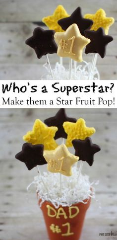Make your Superstar feel extra special with some Chocolate Dipped Star Fruit Pops! They'll love them!