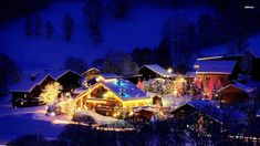 Christmas lights in the small village widescreen desktop mobile iphone android hd wallpaper and desktop. Favorite Christmas Songs, Why Christmas, Christmas Town, Christmas Albums, Christmas Scenes, Christmas Music, Christmas Pictures, Christmas Desktop, Xmas Songs
