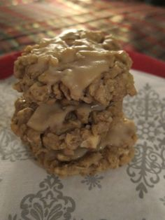 apple oatmeal cookies with maple sugar icing