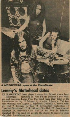 1975 - MOTORHEAD pres for 1rst gig at Roundhouse LEMMY w/ LARRY WALLIS (Pink Fairies, Shagrat, Ufo) & Early drummer LUCAS FOX.