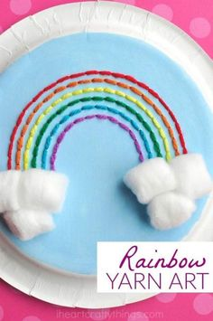 Paper Plate Rainbow Yarn Art Craft 2019 This paper plate rainbow yarn art craft is great for introducing kids to sewing. Great rainbow craft for kids and fun spring kids craft. The post Paper Plate Rainbow Yarn Art Craft 2019 appeared first on Yarn ideas. Yarn Crafts For Kids, Spring Crafts For Kids, Sewing Projects For Kids, Sewing For Kids, Preschool Crafts, Easy Crafts, Gifts For Kids, Art For Kids, Arts And Crafts