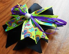 Pinwheel bow, Black and Green, Butterfly bow, Boutique Stacked, Hair Bow, Alligator Clip, hairbow, hair clip