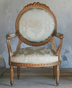Pair Gilt Wood French Style Louis XI Carved Armcha