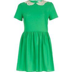 Green lace collar tea dress - day dresses - dresses - women