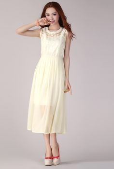 New Arrival Lace Gauze Pearl Chiffon Dress (With Sling)