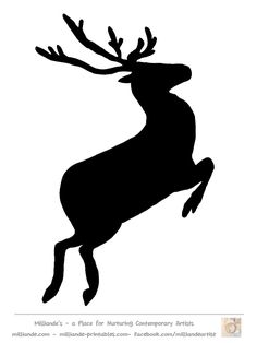 Free Reindeer Clipart , Reindeer Silhouette Template at www.milliande-printables.com  Great Silhouettes of Reindeer Pictures  LOVE IT !!!