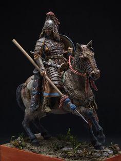 Конный монгольский воин XIII в. 75 мм Акрил, масло Виктор Эйтун