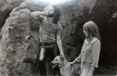 """Jim Morrison and Pamela Courson with their dog Sage at the Bronson Caves in L.A., March 31st 1969© Edmund Teske. Jim Morrison. The Doors. John Densmore, Robby Krieger, Raymond Manzarek (1939.2013), and James Douglas """"Jim"""" Morrison ☮ [December 8, 1943 ― July 3, 1971] ♡ The Doors. #JimMorrison #TheDoors #Music #Rock #Legend #Magazine #Quote #Art"""