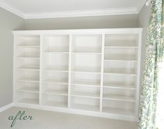 """Awesome built-in bookcases. Spent $400 & about 7 hours. Start w/ our of these 15 inch deep Billy bookcases from IKEA (31.5"""" wide by 79.5"""" tall; use molding, Carefully cut existing molding from wall, lined up the bookcases, reused the molding in the front of the bookcases, re-routed elec outlets, etc.  See the DIY project HERE.  Way cool!!"""