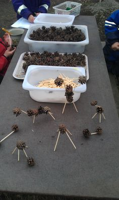 British Columbia Kindergarten Math cones and toothpicks. Fantastic idea to replace the plastic stickle bricks and inter-star connectors! Forest School Activities, Nature Activities, Outdoor Activities, Reggio Emilia, Reggio Classroom, Outdoor Classroom, Outdoor Education, Outdoor Learning, Play Based Learning