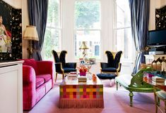 salón boho con muebles estilo retro