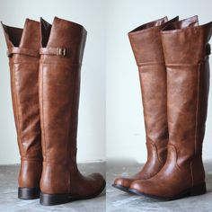 """These amazing riding boots feature a side zipper for a quick easy an easy in and out, and sassy brass side buckle. Calfs are adjustable with tab. Fits true to size all man made material Heels: 1.5"""" Sh"""