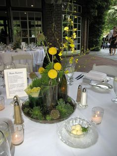 Yellow centerpieces Yellow Centerpieces, Man And Wife, Wedding Decorations, Table Decorations, Washi, Tablescapes, Wild Flowers, Reception, Garden
