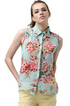Flor Printed Chiffon camisa verde