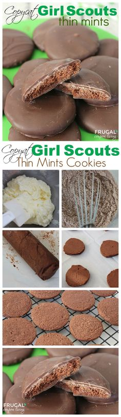 Copycat Girl Scout Thin Mints Cookies - Easy to make chocolate mint cookies on Frugal Coupon Living plus other Copycat Recipes.