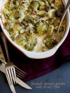 brussels sprouts gratin recipe. In place of Milk use heavy whipping cream.