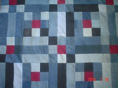 denim quilt with red squares  - same pattern, love the little splashes of color.
