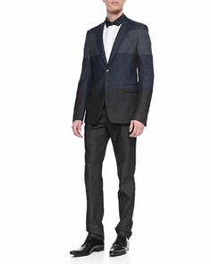 -4VLT Valentino Colorblock Denim Sport Coat, Denim Pleated-Front Pants & Denim-Trimmed Long-Sleeve Shirt