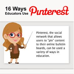 16 ways to use Pinterest for education: excellent infographic for a quite promising social tool...
