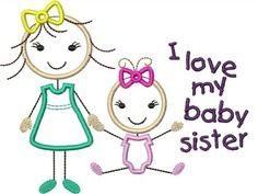 Stick figures girl baby I love my big sister I love my baby sister
