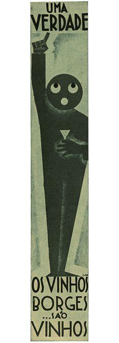 "Wine Borges Advertisement detail, April 14, 1930. The Portuguese ""Film Chronicle"" magazine's distinctive advertisement created by designer/illustrator, Lazarus. 1930."