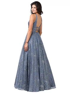 Dancing Queen - 2741 Embellished Deep V-neck A-line Gown Dancing Queen Dresses, Pagent Dresses, Open Back Gown, Perfect Prom Dress, Short Dresses, Formal Dresses, A Line Gown, Prom Dresses Online, Embellished Dress