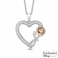 Diamond Rose and Heart Pendant in Sterling Silver and Rose Gold - - Peoples Jewellers Enchanted Disney Belle CT. Diamond Rose and Heart Pendant in Sterling Silver and Rose Gold - - - View Al Zales Jewelry, Silver Jewelry, Silver Bracelets, Enchanted Disney Fine Jewelry, Peoples Jewellers, Disney Belle, Heart Shaped Diamond, Disney Jewelry, A 17