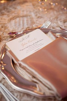 champagne napkin place setting