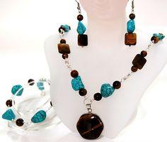 Semi-PreciousGemstone-Tiger's Eyes and Turquoise,Jewelry Set