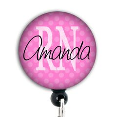 Retractable Badge Holder   Personalized Pink  by GoodGirlGoneBadge, $7.99