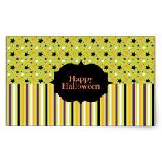 Happy Halloween with Stars and Stripes Rectangular Sticker - craft supplies diy custom design supply special