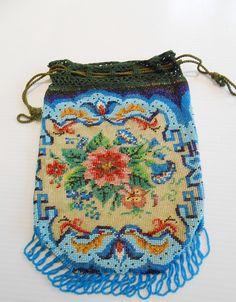 Antique Floral Flower Drawstring Micro Bead Purse Bag  #Drawstring