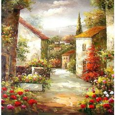 Hand made oil painting on canvas - Tuscany in Springtime