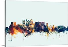 Digital Art - Cape Town South Africa Skyline by Michael Tompsett , Cape Town South Africa, Canvas Prints, Framed Prints, Light Blue Background, New York Skyline, Abstract Art, Digital Art, Graphic Design, Watercolor