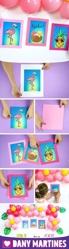Faça você mesmo Quadrinhos Decorativos para sua festa, aniversário, decoração, criatividade, flamingo, abacaxi, estilo tropical, DIY, Do It Yourself, Dany Martines