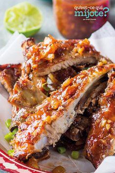 Côtes levées douces au piment et à la lime #recette Vinegar Bbq Sauce, Sauce Barbecue, Home Recipes, Cooking Recipes, What's Cooking, Heinz Chili Sauce, Chili Lime, Spare Ribs, Sweet Chili