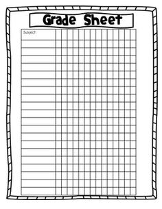 This grade sheet is a way for students to keep track of