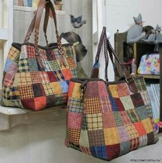 Handmade bags using patchwork techniqueLarge, colorful bags for the voices to carry propsimages attach c 0 121 607 Patchwork Bags, Quilted Bag, Pinterest Patchwork, Sac Vanessa Bruno, Japanese Bag, Boho Bags, Denim Bag, Fabric Bags, Market Bag