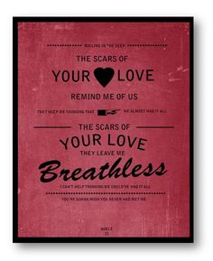 Rolling in the Deep / Adele / Lyric / 8x10 Digital Typography Poster. $10.00, via Etsy.