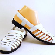 Womens Slingback White Leather Sandals Chicory 7W  Fisherman Sheree Closed Toe | Clothing, Shoes & Accessories, Women's Shoes, Sandals & Flip Flops | eBay!