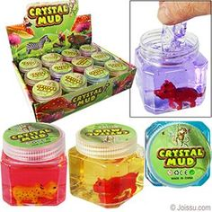ANIMAL CRYSTAL MUD SLIME. Each jar of this oozy slime has its own animal figurine. Assorted colors and styles. Sorry, no color or style choice available. Perfect for Easter basket treats, Christmas stocking stuffers and party favors.  Size 2.5 Inches, Display unit 10 X 8.5 X 7 Inches BUY 12, GET A FREE DISPLAY UNIT