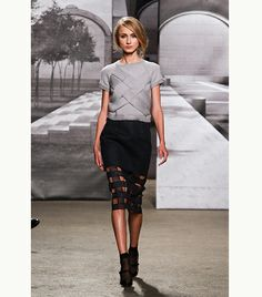 @Who What Wear - Nonoo                 A pair of sheer, black ankle socks add a fashion-forward twist to Mary Jane pumps and pencil skirt.