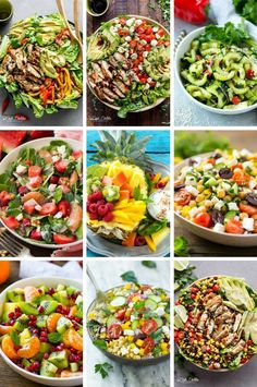 Healthy salads recipes including chicken salads, cucumber salads and quinoa salads. Clean Eating, Healthy Eating, Best Salad Dressing, Low Calorie Salad, Bbq Chicken Salad, Quinoa Salat, Detox Salad, Chopped Salad, Healthy Salad Recipes
