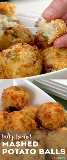 Fully-Loaded Mashed Potato Balls |  Transform your leftovers into an irresistible side or appetizer - the most decked-decked baked potato in a bite-sized ball.  Click for the video adn recipe. #homecooking #familydinner