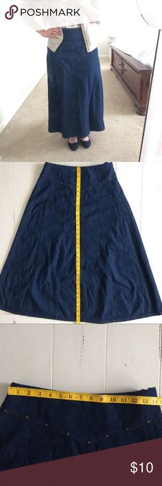 Denim A-line Maxi Skirt 100% Cotton Denim A-line Maxi Skirt with bronze accents along front of skirt. Has elastic back, flat front with v shape. Size 8. Used, but in excellent condition. No flaws that I can see. Skirts Maxi
