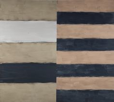 Sean Scully B. 1945 BETWEEN TWO LIGHTS titled on the reverse of the left hand panel; signed and dated 1999 on the reverse of the right hand panel, oil on linen, in 2 parts