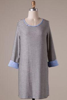 Long sleeve stripe detailed dress