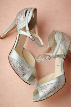 """Gorgeous pale """"something blue"""" shoes for wedding. Sexy ankle strap and a sweet retro style!"""
